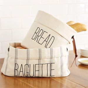 Mud Pie Canvas Bread and Baguette Baskets Set of 2